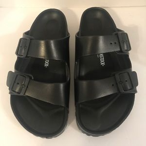 Birkenstock Eva Black Rubber Pool Slides 42